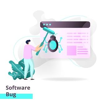 Modelo de página de destino de bug de software.