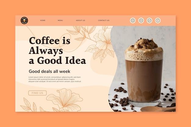 Modelo de página de destino de café delicioso