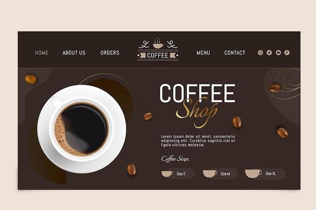 Modelo de página de destino de café
