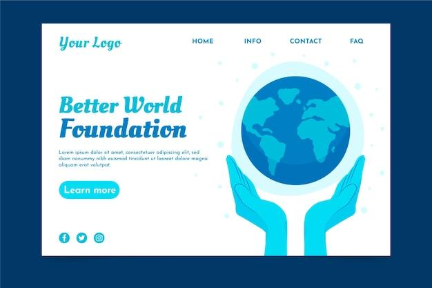 Modelo de página de destino de caridade ambiental