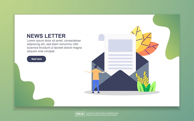 Modelo de página de destino de carta de notícias. conceito moderno design plano de design de página da web para o site e site móvel.