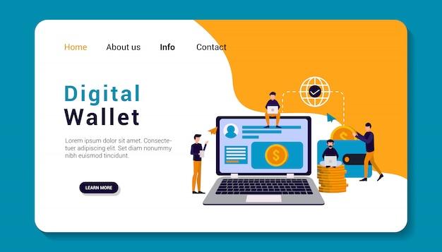 Modelo de página de destino de carteira digital, design plano