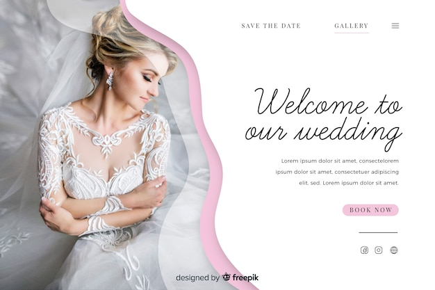 Modelo de página de destino de casamento bonito com foto