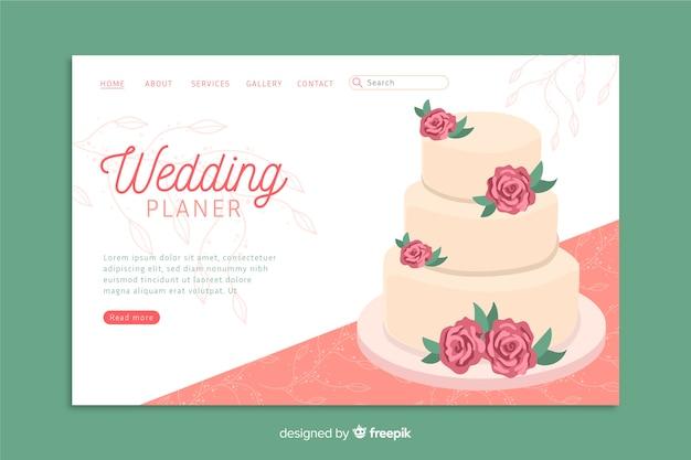 Modelo de página de destino de casamento com bolo