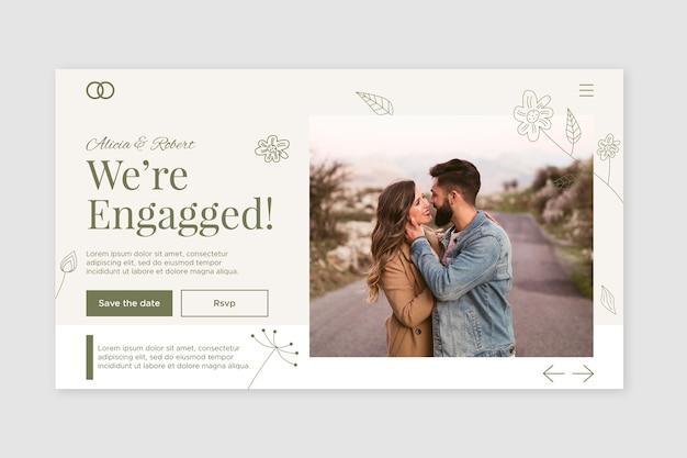 Modelo de página de destino de casamento com foto