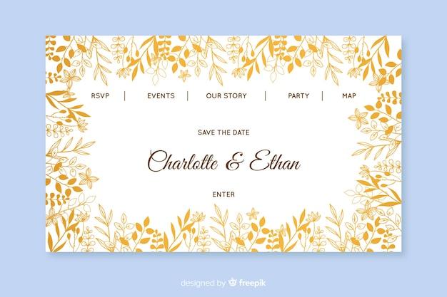 Modelo de página de destino de casamento dourado