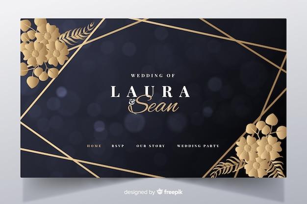 Modelo de página de destino de casamento elegante dourado