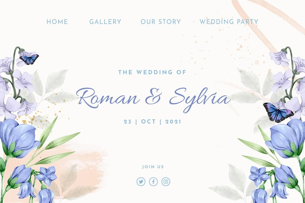 Modelo de página de destino de casamento em aquarela