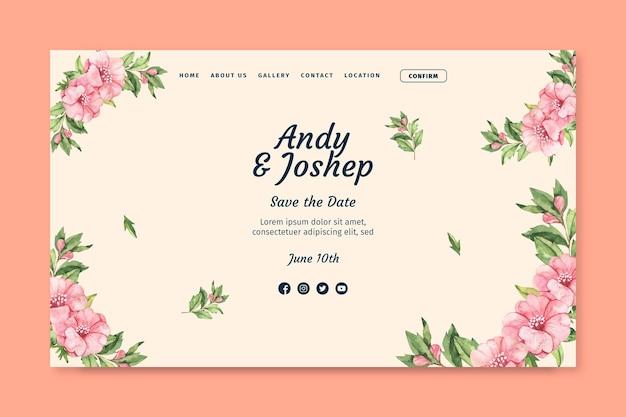 Modelo de página de destino de casamento floral