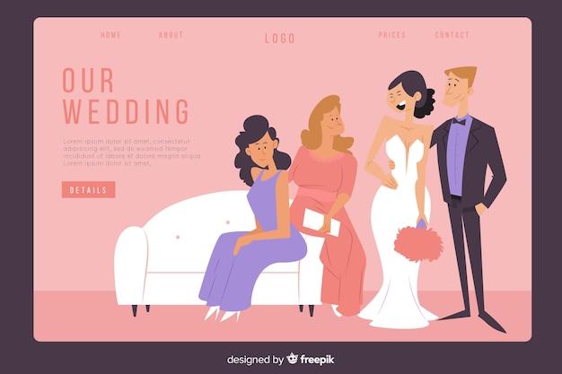 Modelo de página de destino de casamento plana