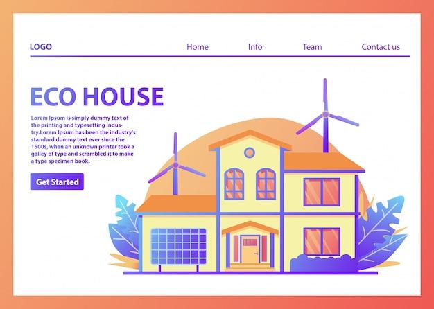 Modelo de página de destino de casas ecológicas