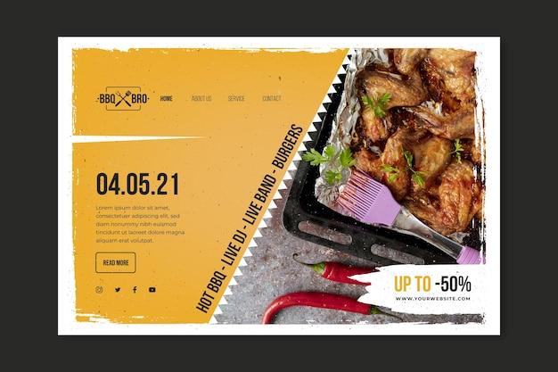 Modelo de página de destino de churrasco