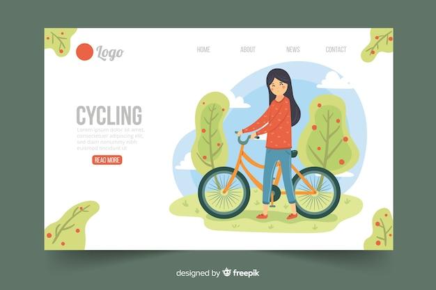Modelo de página de destino de ciclismo plana
