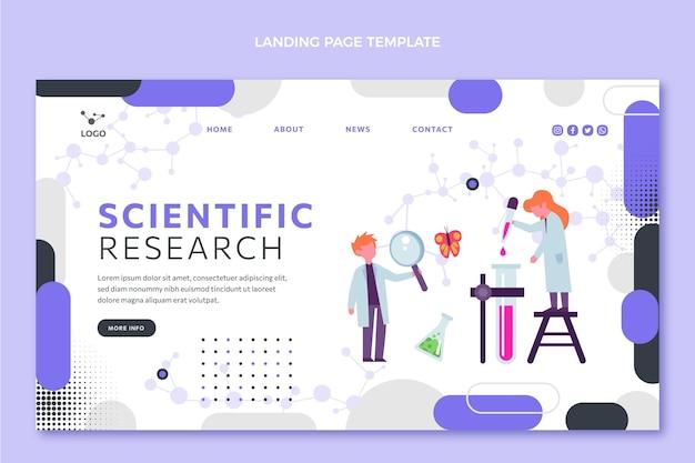 Modelo de página de destino de ciência de design plano