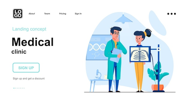 Modelo de página de destino de clínica médica