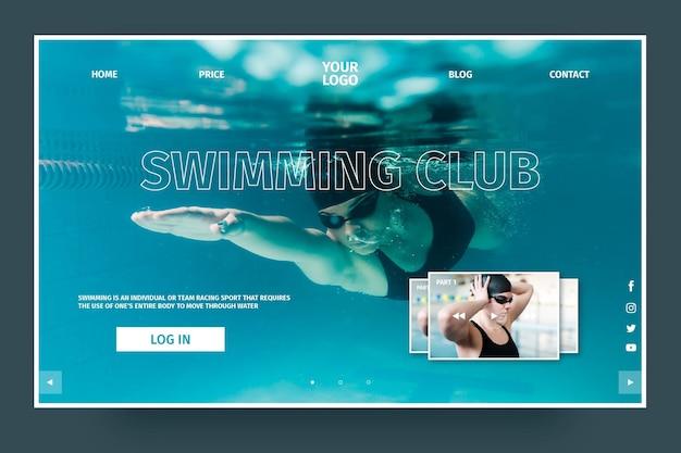 Modelo de página de destino de clube de natação de luxo