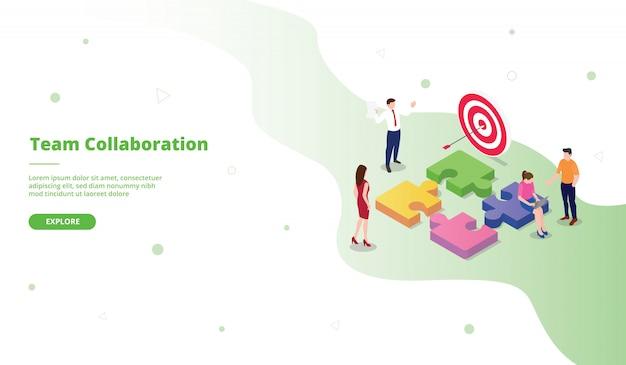 Modelo de página de destino de colaboração em equipe no estilo isométrico