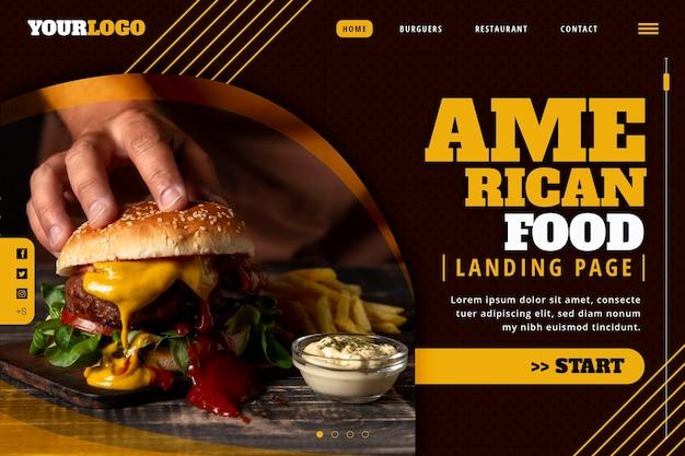 Modelo de página de destino de comida americana