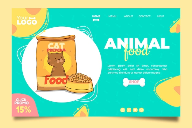 Modelo de página de destino de comida animal