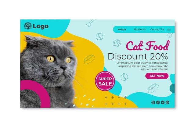 Modelo de página de destino de comida de gato