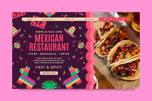 Modelo de página de destino de comida de restaurante mexicano