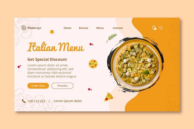 Modelo de página de destino de comida italiana