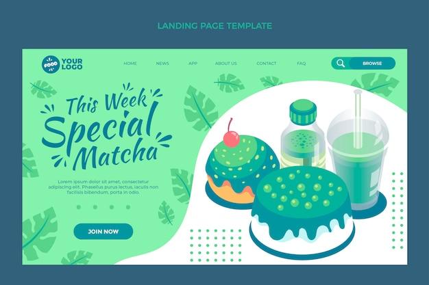 Modelo de página de destino de comida matcha plana