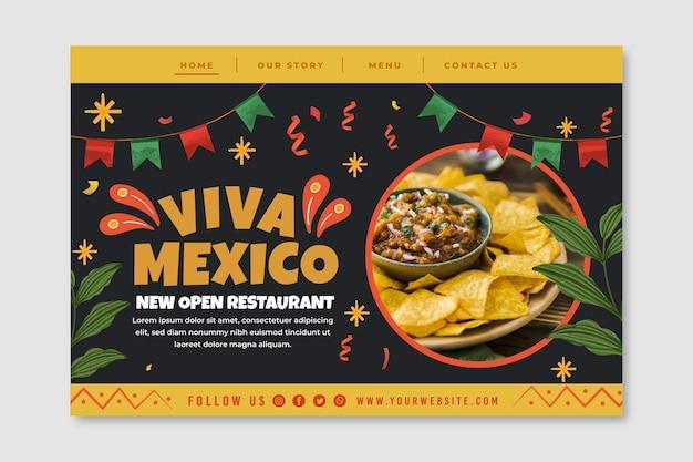 Modelo de página de destino de comida mexicana com foto