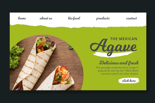 Modelo de página de destino de comida mexicana