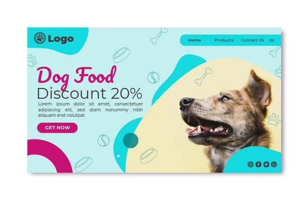 Modelo de página de destino de comida para cachorro