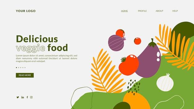 Modelo de página de destino de comida vegetariana desenhada à mão