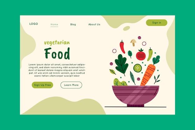 Modelo de página de destino de comida vegetariana saudável