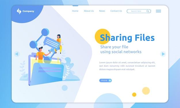 Modelo de página de destino de compartilhamento de arquivos de design plano