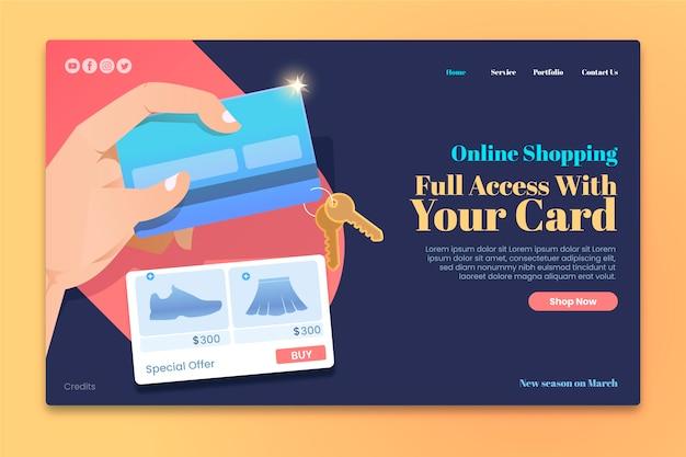 Modelo de página de destino de compra on-line com cartões de crédito