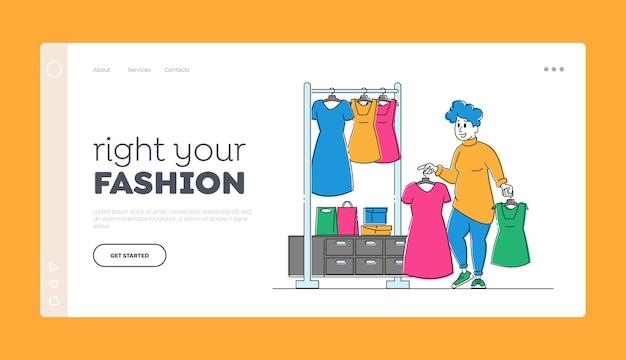 Modelo de página de destino de compras de personagem feminina viciada em compras