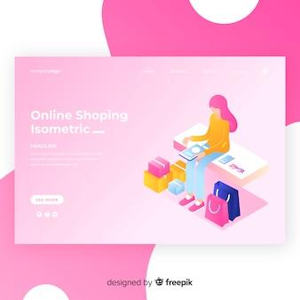 Modelo de página de destino de compras isométrica