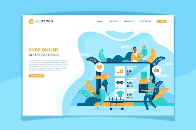 Modelo de página de destino de compras on-line