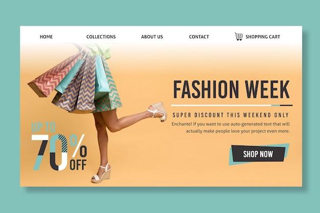 Modelo de página de destino de compras online com foto