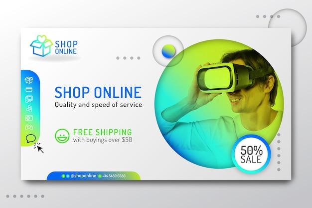 Modelo de página de destino de compras online gradiente