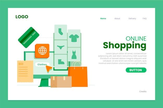 Modelo de página de destino de compras online