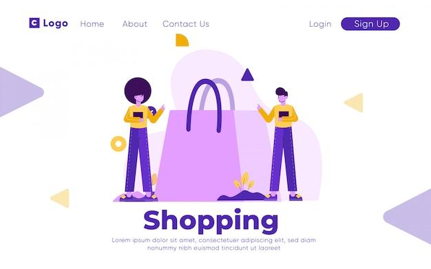 Modelo de página de destino de compras