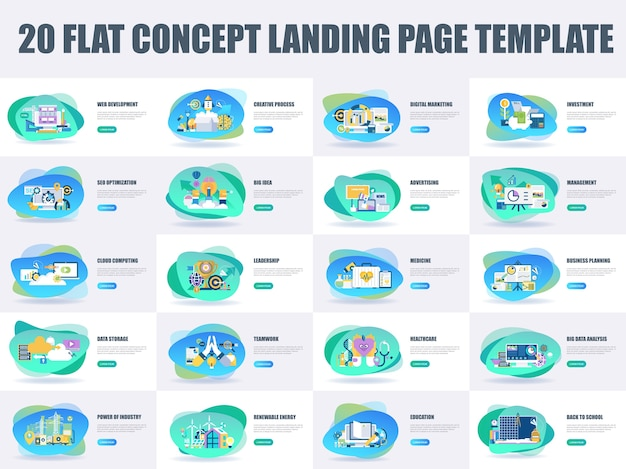 Modelo de página de destino de conceito de design plano de pacote