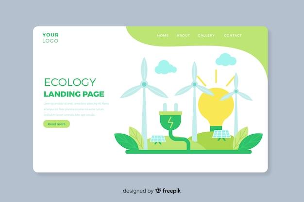 Modelo de página de destino de conceito de ecologia