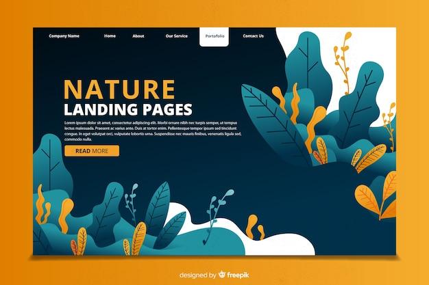 Modelo de página de destino de conceito de natureza