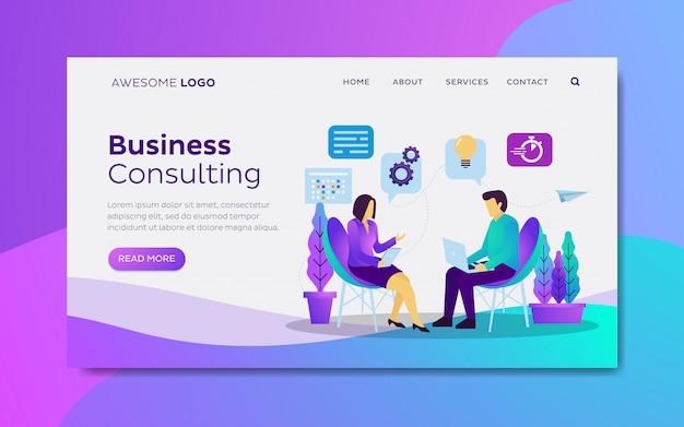 Modelo de página de destino de consultoria de negócios