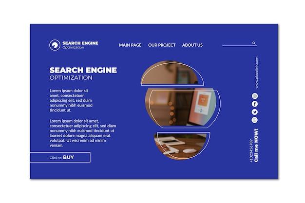 Modelo de página de destino de conteúdo virtual de seo