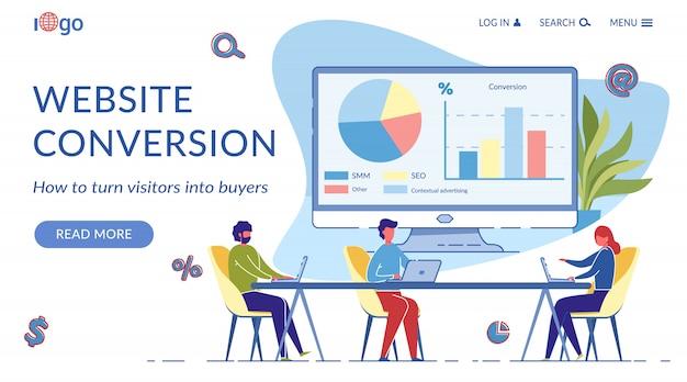 Modelo de página de destino de conversão de site