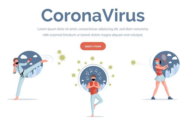 Modelo de página de destino de coronavírus. esportista, tenista, karateca luta ilustração plana covid-19.