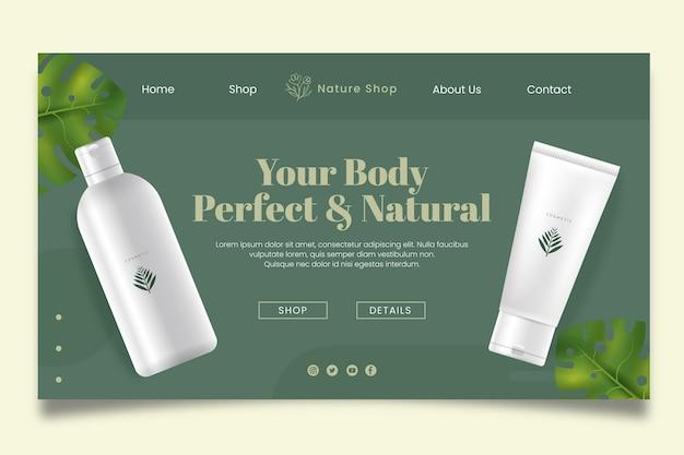 Modelo de página de destino de cosmético natural