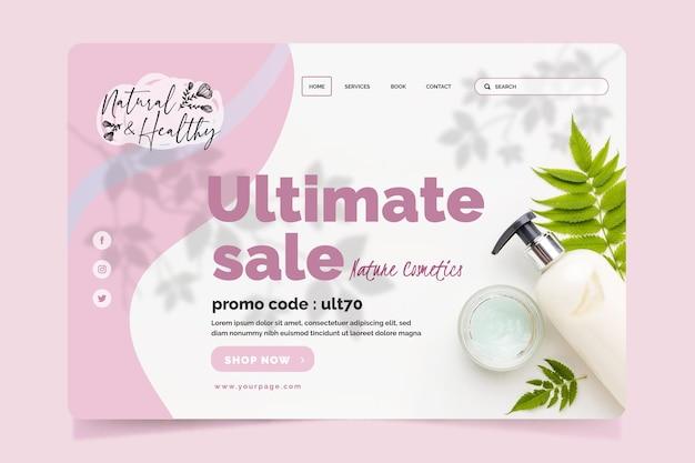 Modelo de página de destino de cosméticos com foto